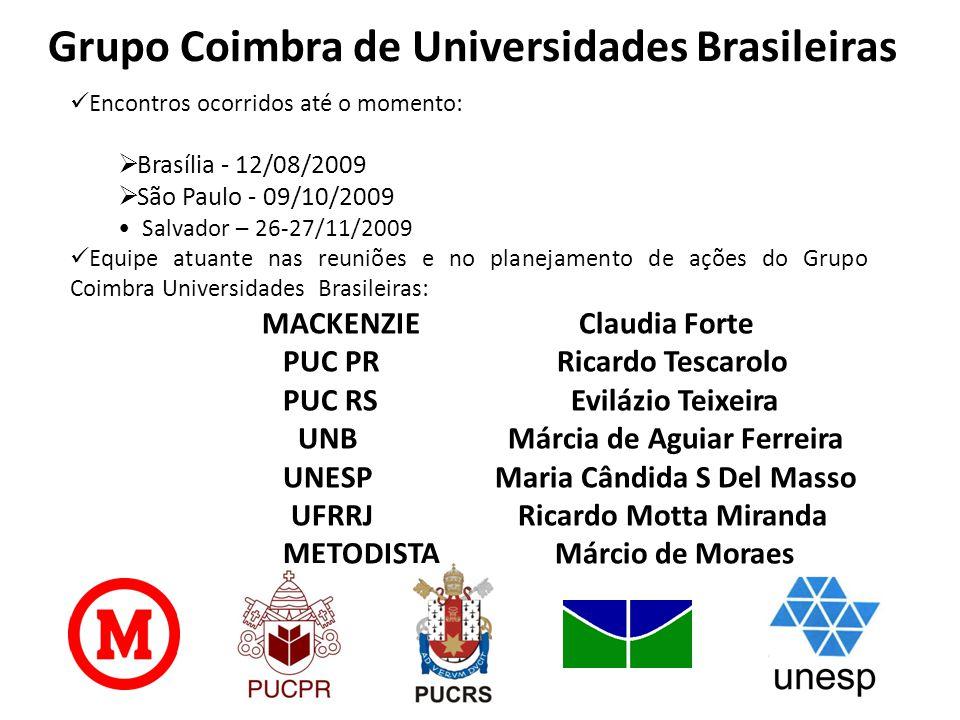 Grupo Coimbra de Universidades Brasileiras  Encontros ocorridos até o momento:  Brasília - 12/08/2009  São Paulo - 09/10/2009 • Salvador – 26-27/11