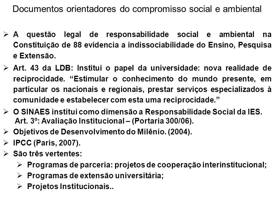 Documentos orientadores do compromisso social e ambiental  A questão legal de responsabilidade social e ambiental na Constituição de 88 evidencia a i