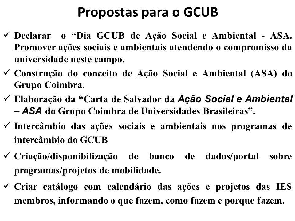 """Propostas para o GCUB  Declarar o """"Dia GCUB de Ação Social e Ambiental - ASA. Promover ações sociais e ambientais atendendo o compromisso da universi"""