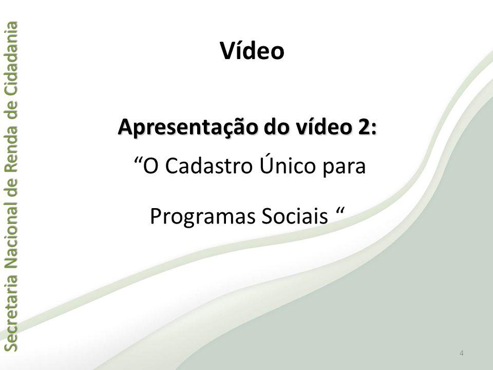 "Secretaria Nacional de Renda de Cidadania Secretaria Nacional de Renda de Cidadania Apresentação do vídeo 2: ""O Cadastro Único para Programas Sociais"