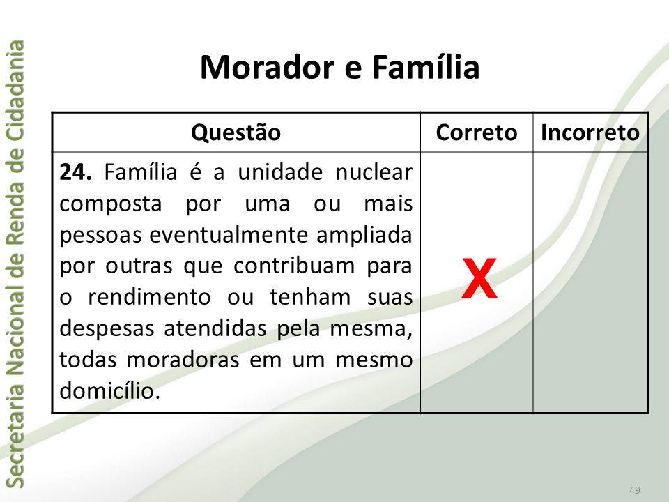 Secretaria Nacional de Renda de Cidadania Secretaria Nacional de Renda de Cidadania 49 QuestãoCorretoIncorreto 24. Família é a unidade nuclear compost