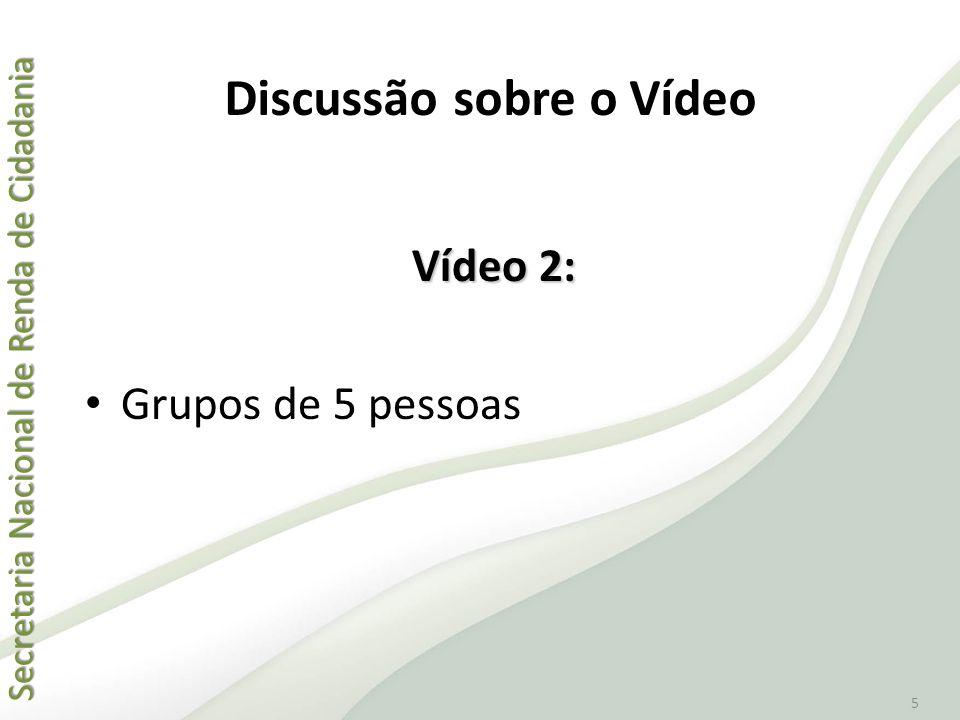 Secretaria Nacional de Renda de Cidadania Secretaria Nacional de Renda de Cidadania 5 Vídeo 2: • Grupos de 5 pessoas Discussão sobre o Vídeo