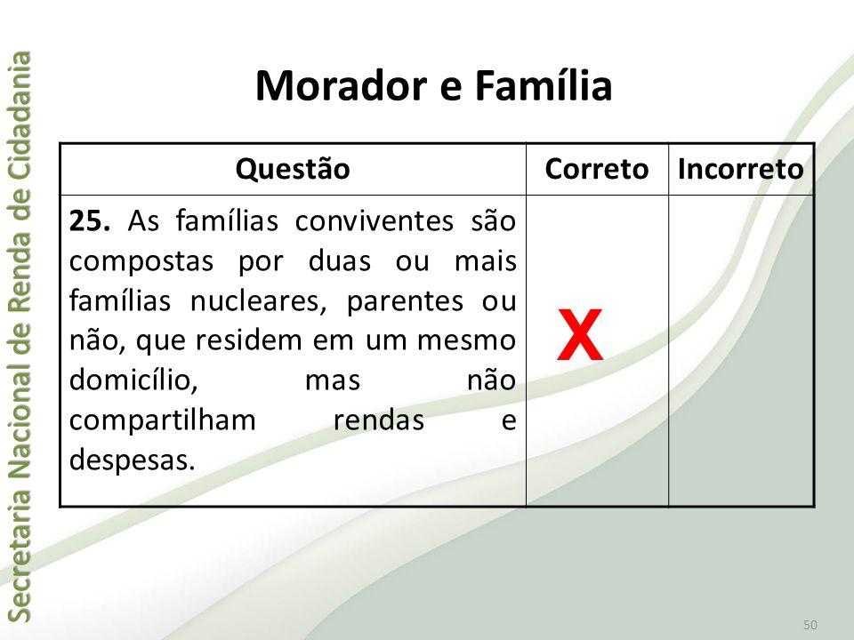 Secretaria Nacional de Renda de Cidadania Secretaria Nacional de Renda de Cidadania 50 QuestãoCorretoIncorreto 25. As famílias conviventes são compost