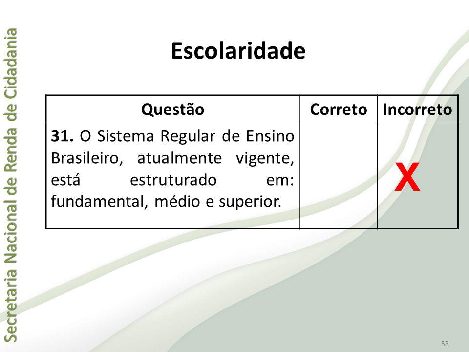 Secretaria Nacional de Renda de Cidadania Secretaria Nacional de Renda de Cidadania 58 QuestãoCorretoIncorreto 31. O Sistema Regular de Ensino Brasile