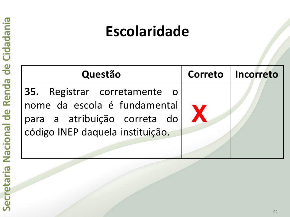 Secretaria Nacional de Renda de Cidadania Secretaria Nacional de Renda de Cidadania 62 QuestãoCorretoIncorreto 35. Registrar corretamente o nome da es