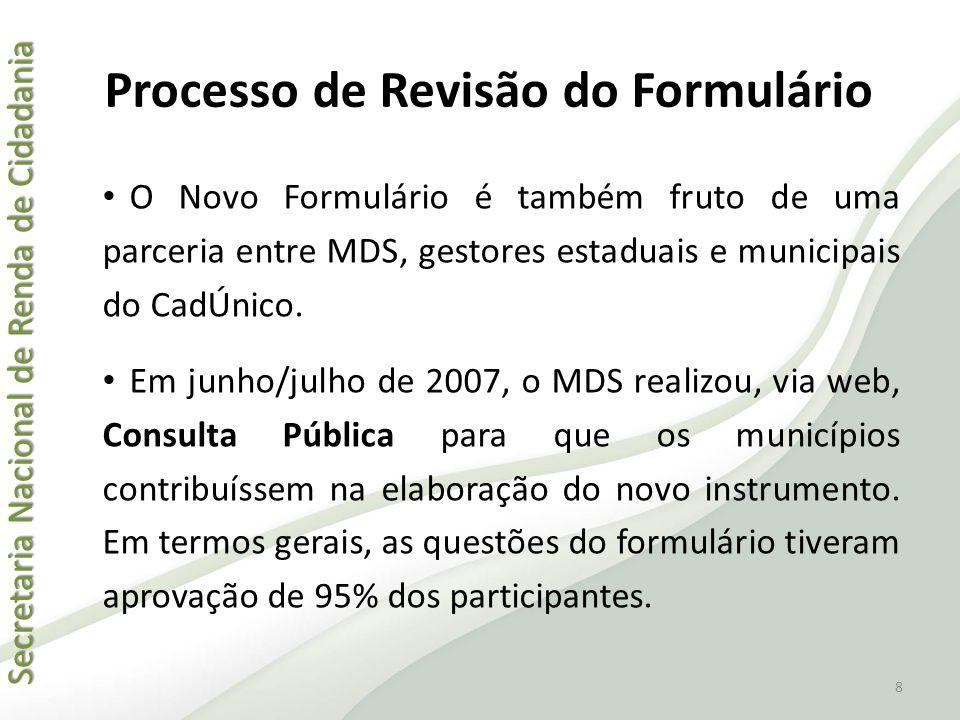 Secretaria Nacional de Renda de Cidadania Secretaria Nacional de Renda de Cidadania Processo de Revisão do Formulário • Em dezembro de 2007, foi feito um pré-teste com oito municípios: Santarém (PA), Caxias (MA), Nova Lima (MG), Alta Floresta (MT), Marialva (PR), Crato (CE), Arauá (SE) e Belo Horizonte (MG).