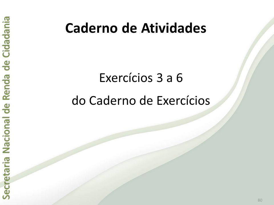 Secretaria Nacional de Renda de Cidadania Secretaria Nacional de Renda de Cidadania 80 Exercícios 3 a 6 do Caderno de Exercícios Caderno de Atividades