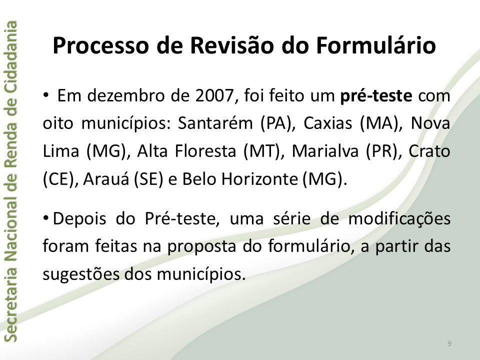 Secretaria Nacional de Renda de Cidadania Secretaria Nacional de Renda de Cidadania Processo de Revisão do Formulário • Em dezembro de 2007, foi feito