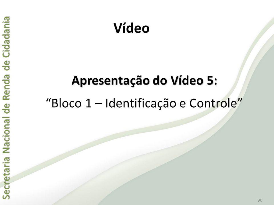 """Secretaria Nacional de Renda de Cidadania Secretaria Nacional de Renda de Cidadania 90 Apresentação do Vídeo 5: """"Bloco 1 – Identificação e Controle"""" V"""