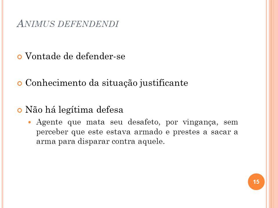 A NIMUS DEFENDENDI Vontade de defender-se Conhecimento da situação justificante Não há legítima defesa  Agente que mata seu desafeto, por vingança, s