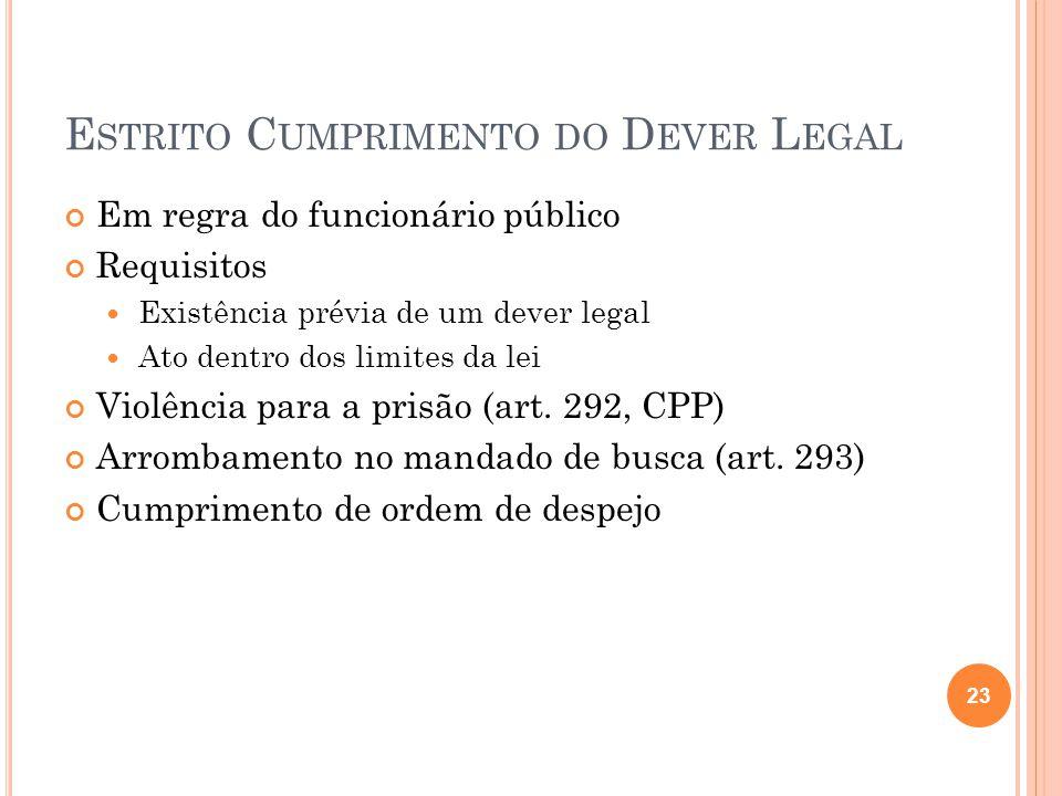 E STRITO C UMPRIMENTO DO D EVER L EGAL Em regra do funcionário público Requisitos  Existência prévia de um dever legal  Ato dentro dos limites da le