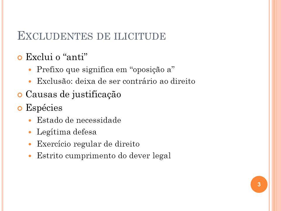"""E XCLUDENTES DE ILICITUDE Exclui o """"anti""""  Prefixo que significa em """"oposição a""""  Exclusão: deixa de ser contrário ao direito Causas de justificação"""
