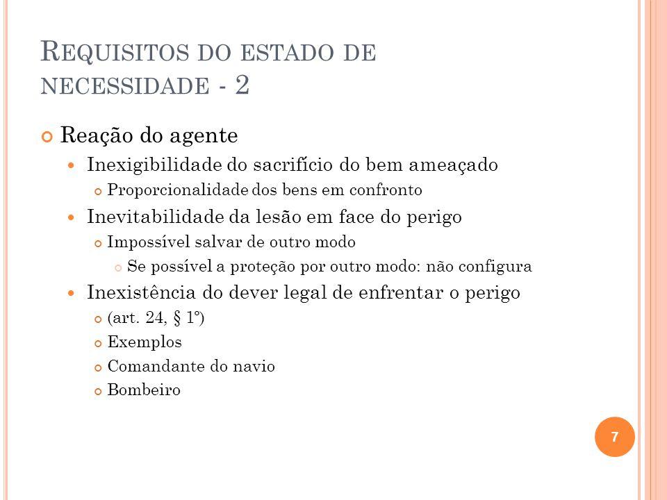 R EQUISITOS DO ESTADO DE NECESSIDADE - 2 Reação do agente  Inexigibilidade do sacrifício do bem ameaçado Proporcionalidade dos bens em confronto  In