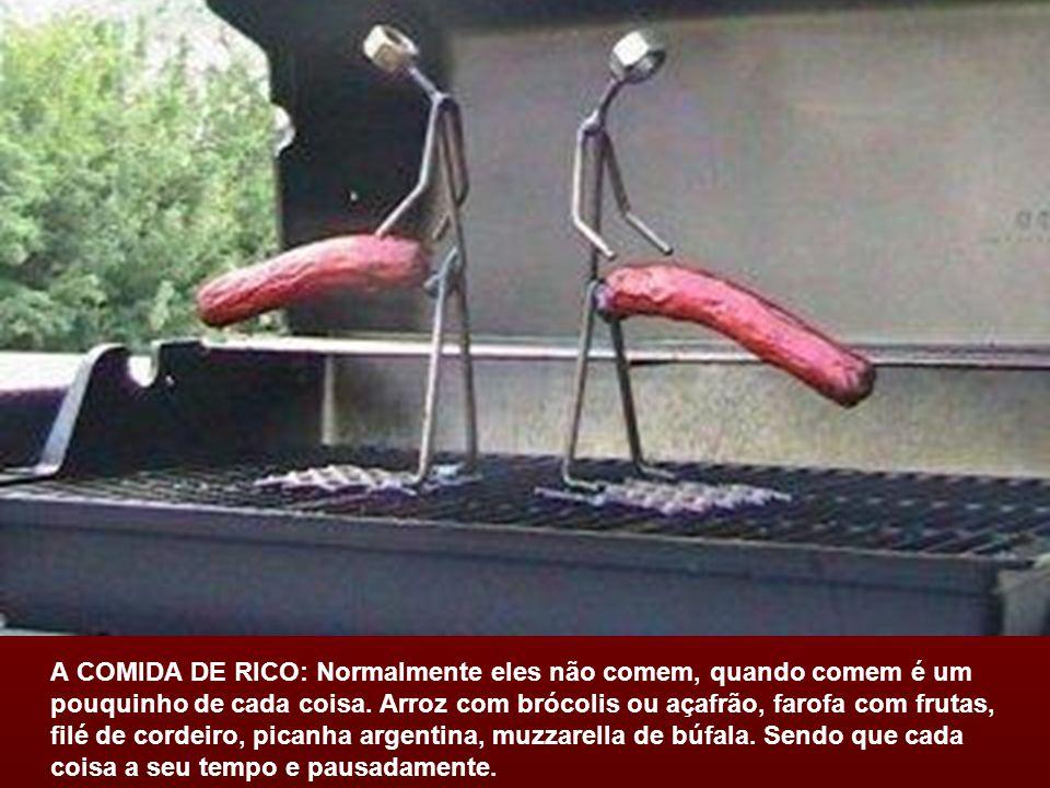A COMIDA DE RICO: Normalmente eles não comem, quando comem é um pouquinho de cada coisa.