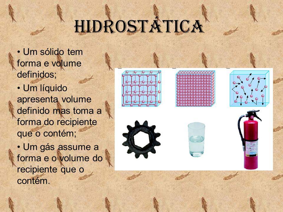 Hidrostática • Um sólido tem forma e volume definidos; • Um líquido apresenta volume definido mas toma a forma do recipiente que o contém; • Um gás as