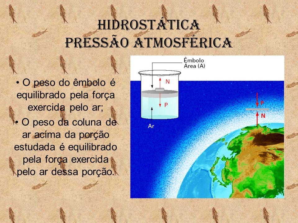 Hidrostática Pressão Atmosférica • O peso do êmbolo é equilibrado pela força exercida pelo ar; • O peso da coluna de ar acima da porção estudada é equ