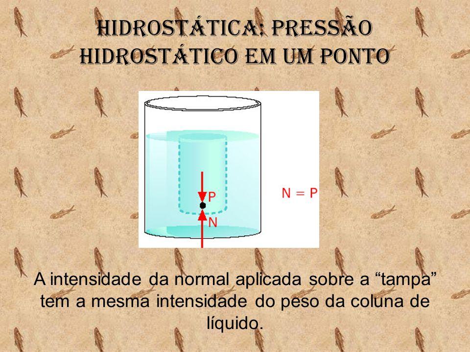 """Hidrostática: Pressão hidrostático em um ponto A intensidade da normal aplicada sobre a """"tampa"""" tem a mesma intensidade do peso da coluna de líquido."""
