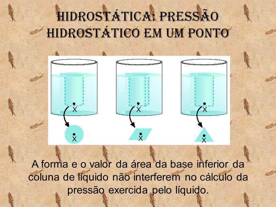 A forma e o valor da área da base inferior da coluna de líquido não interferem no cálculo da pressão exercida pelo líquido.