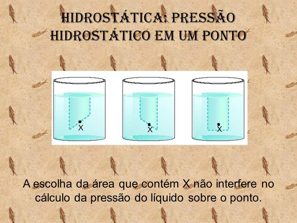 Hidrostática: Pressão hidrostático em um ponto A escolha da área que contém X não interfere no cálculo da pressão do líquido sobre o ponto.