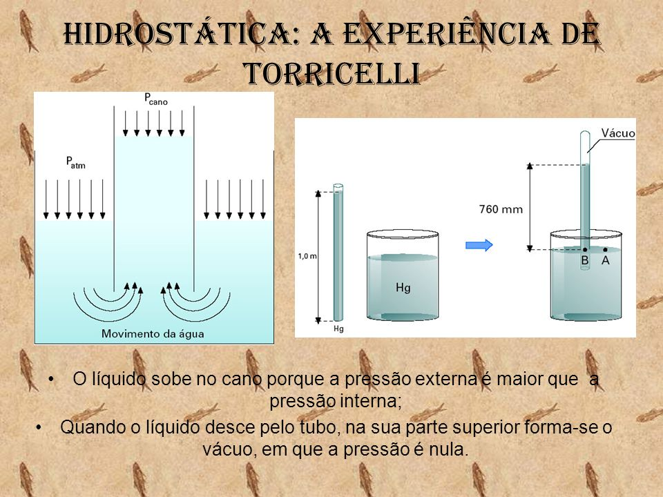 Hidrostática: A experiência de torricelli •O líquido sobe no cano porque a pressão externa é maior que a pressão interna; •Quando o líquido desce pelo