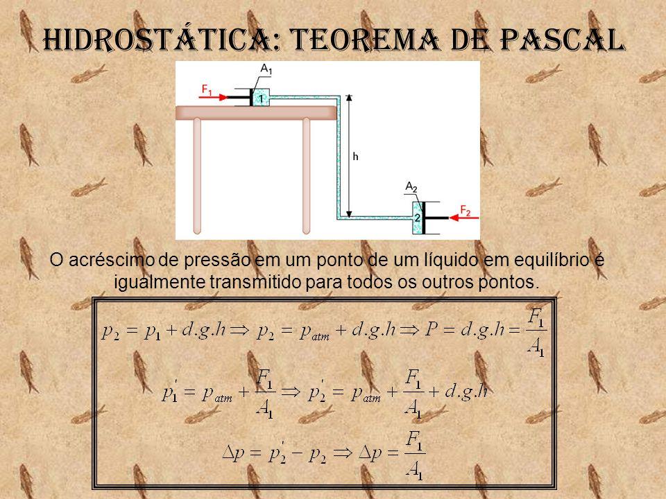 Hidrostática: Teorema de pascal O acréscimo de pressão em um ponto de um líquido em equilíbrio é igualmente transmitido para todos os outros pontos.