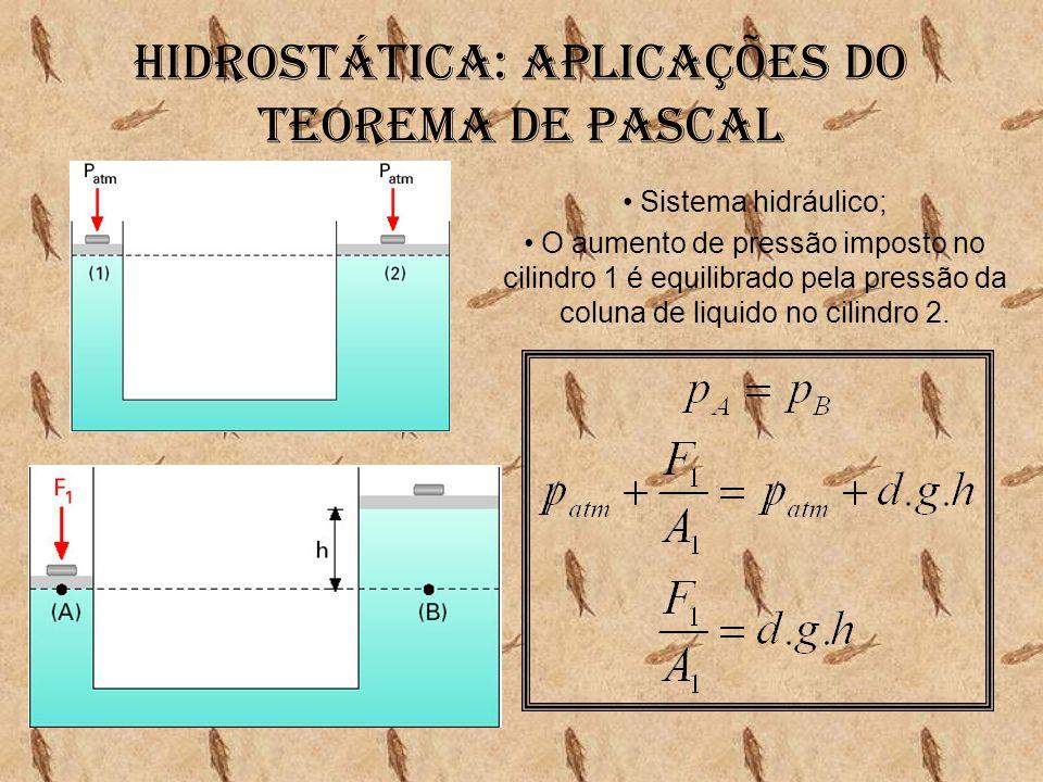 Hidrostática: Aplicações do teorema de pascal • Sistema hidráulico; • O aumento de pressão imposto no cilindro 1 é equilibrado pela pressão da coluna
