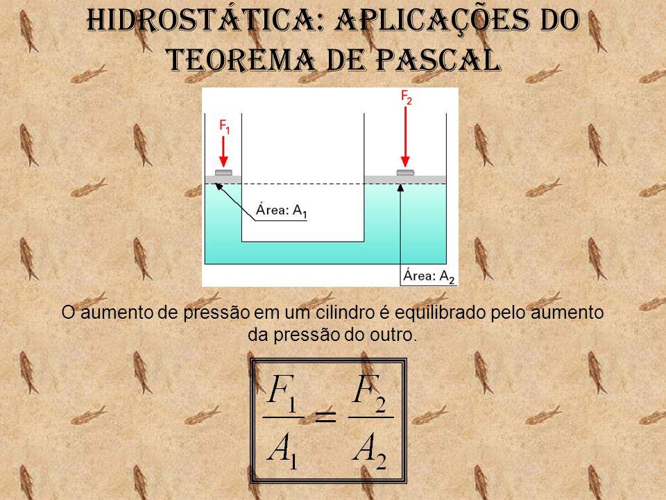 Hidrostática: aplicações do Teorema de pascal O aumento de pressão em um cilindro é equilibrado pelo aumento da pressão do outro.