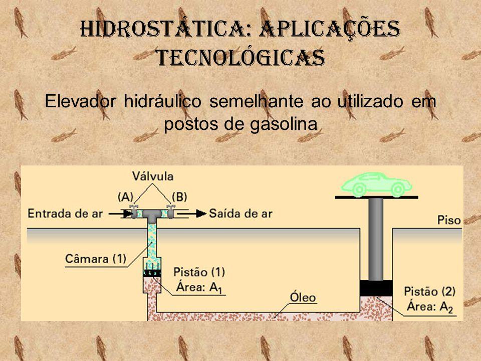 Hidrostática: aplicações tecnológicas Elevador hidráulico semelhante ao utilizado em postos de gasolina