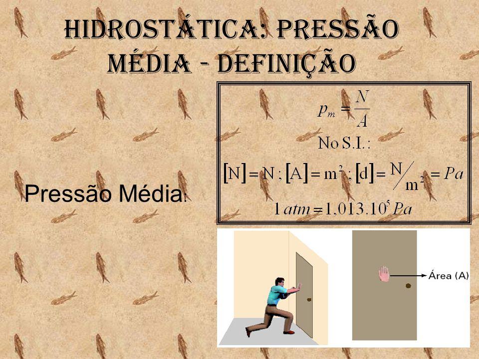 HIDROSTÁTICA: PRESSÃO MÉDIA - DEFINIÇÃO Pressão Média :