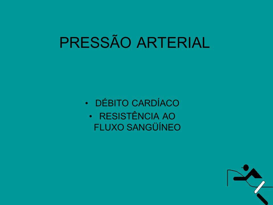 PRESSÃO ARTERIAL •DÉBITO CARDÍACO •RESISTÊNCIA AO FLUXO SANGÜÍNEO