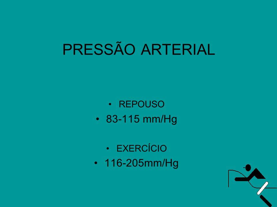 PRESSÃO ARTERIAL •REPOUSO •83-115 mm/Hg •EXERCÍCIO •116-205mm/Hg