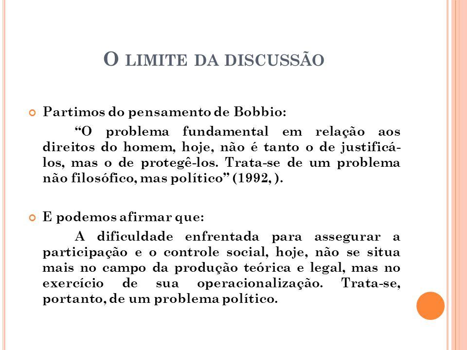"""O LIMITE DA DISCUSSÃO Partimos do pensamento de Bobbio: """"O problema fundamental em relação aos direitos do homem, hoje, não é tanto o de justificá- lo"""
