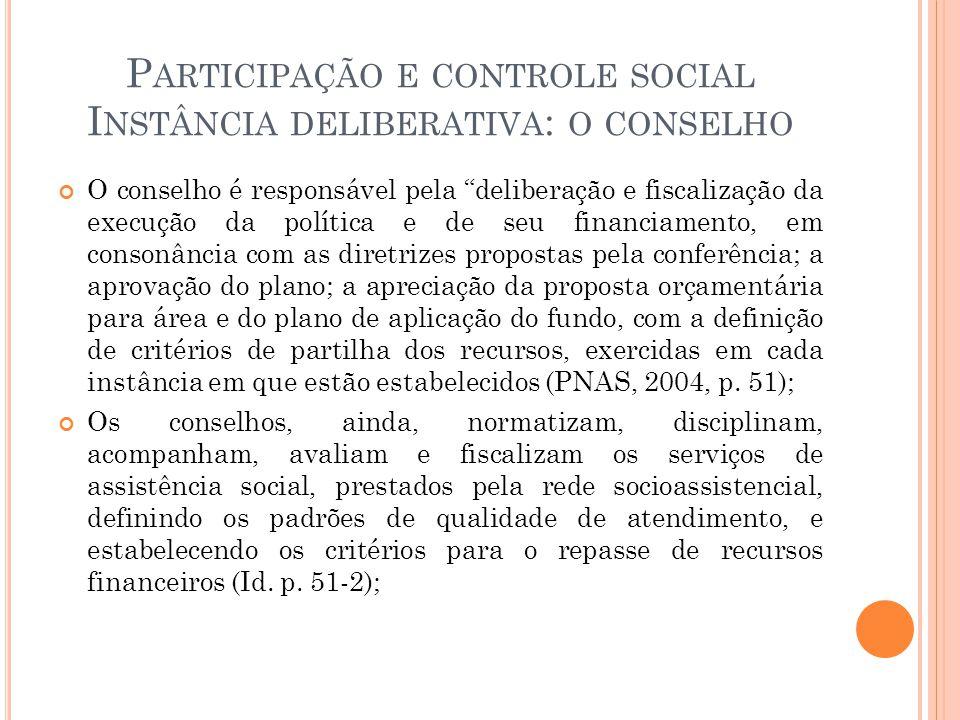 """P ARTICIPAÇÃO E CONTROLE SOCIAL I NSTÂNCIA DELIBERATIVA : O CONSELHO O conselho é responsável pela """"deliberação e fiscalização da execução da política"""
