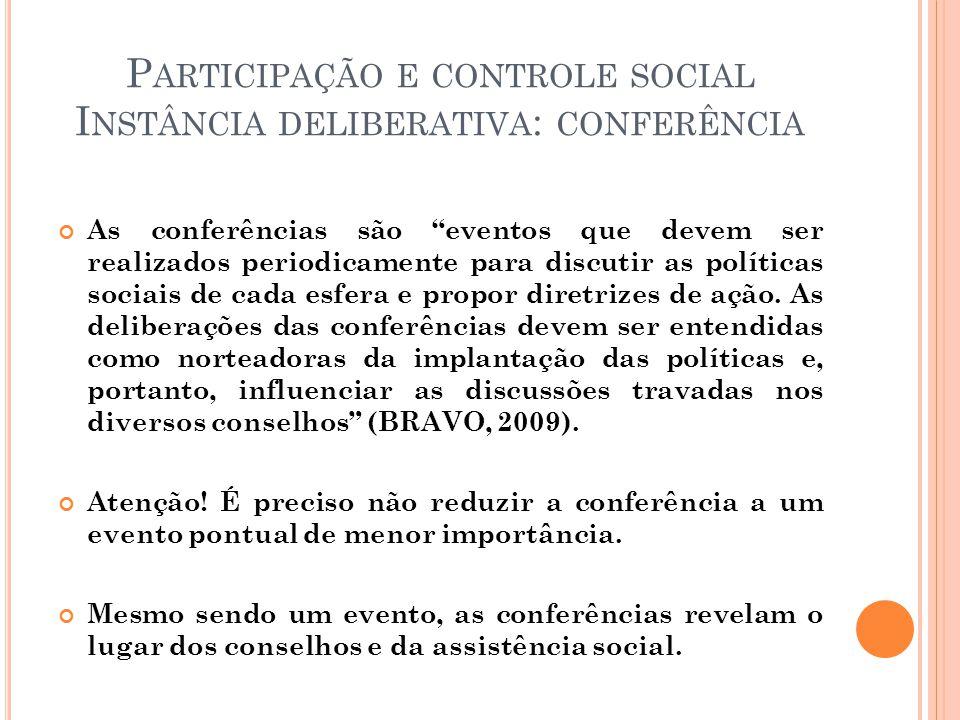P ARTICIPAÇÃO E CONTROLE SOCIAL I NSTÂNCIA DELIBERATIVA : CONFERÊNCIA As conferências são eventos que devem ser realizados periodicamente para discutir as políticas sociais de cada esfera e propor diretrizes de ação.