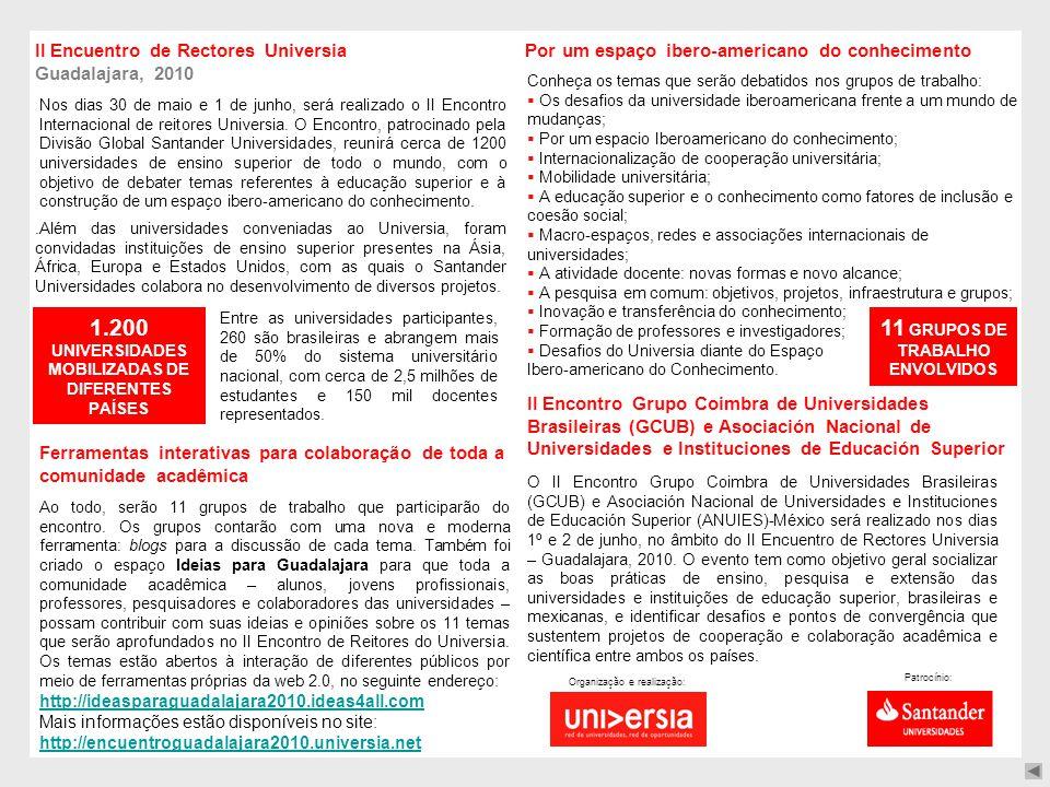 II Encuentro de Rectores Universia Guadalajara, 2010.Além das universidades conveniadas ao Universia, foram convidadas instituições de ensino superior