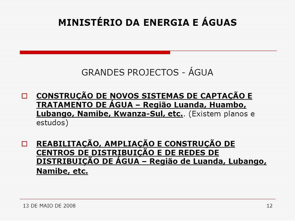 13 DE MAIO DE 200812 MINISTÉRIO DA ENERGIA E ÁGUAS GRANDES PROJECTOS - ÁGUA  CONSTRUÇÃO DE NOVOS SISTEMAS DE CAPTAÇÃO E TRATAMENTO DE ÁGUA – Região L