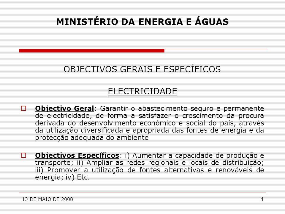 13 DE MAIO DE 20084 MINISTÉRIO DA ENERGIA E ÁGUAS OBJECTIVOS GERAIS E ESPECÍFICOS ELECTRICIDADE  Objectivo Geral: Garantir o abastecimento seguro e p