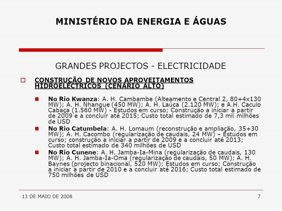 13 DE MAIO DE 20088 MINISTÉRIO DA ENERGIA E ÁGUAS GRANDES PROJECTOS - ELECTRICIDADE  CONSTRUÇÃO DE CENTRAIS TERMOELÉCTRICAS (60 A 200 MW)  CONSTRUÇÃO LINHAS DE TRANSPORTE E DE SUBESTAÇÕES  Construção dos sistemas de transporte de energia eléctrica associados aos novos aproveitamentos hidroeléctricos  Reforço da Rede de MAT (220, 400 kV) e de AT (60 kV) na região de Luanda  Interligação dos sistemas eléctricos de Angola  CONSTRUÇÃO REDES DE DISTRIBUIÇÃO REGIONAIS E LOCAIS DE AT, MT E BT – Região de Luanda, Benguela, Huíla, Huambo, Kwanza-Sul, Cabinda, Malange, Uíge, etc.