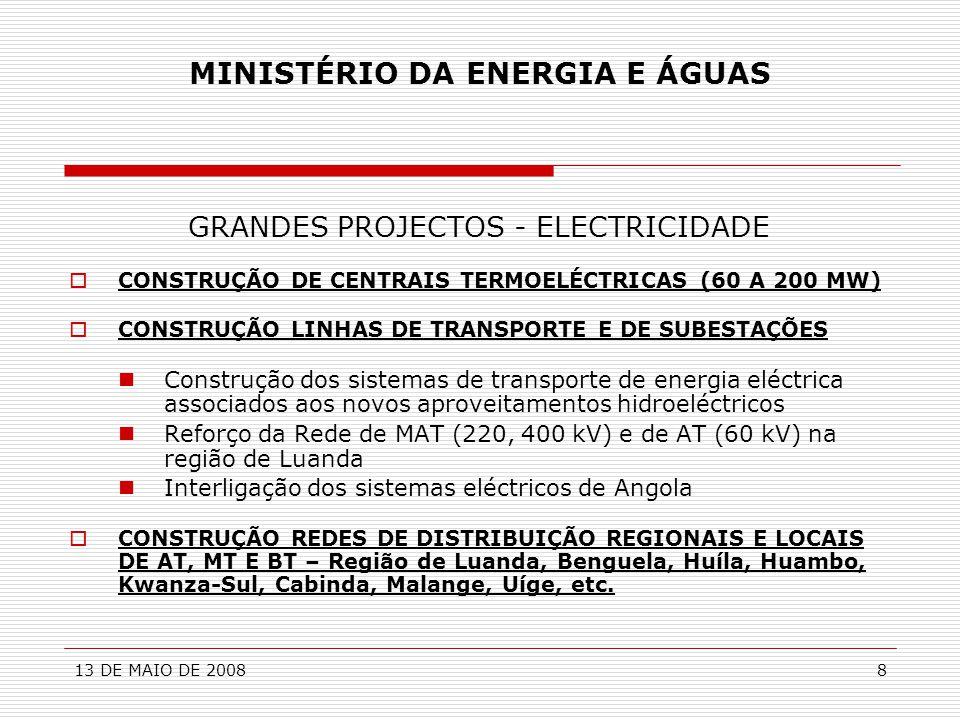 13 DE MAIO DE 20088 MINISTÉRIO DA ENERGIA E ÁGUAS GRANDES PROJECTOS - ELECTRICIDADE  CONSTRUÇÃO DE CENTRAIS TERMOELÉCTRICAS (60 A 200 MW)  CONSTRUÇÃ