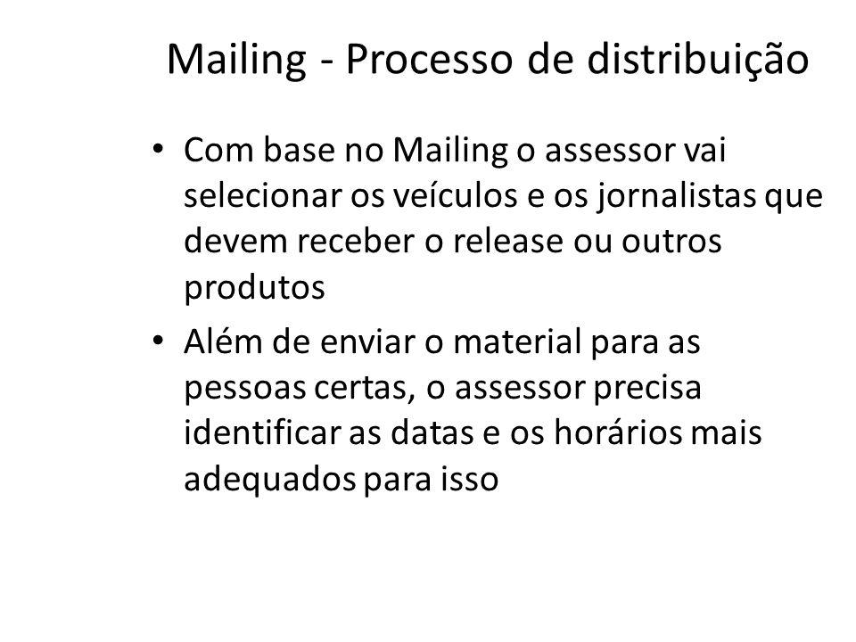 Mailing - Processo de distribuição • Com base no Mailing o assessor vai selecionar os veículos e os jornalistas que devem receber o release ou outros produtos • Além de enviar o material para as pessoas certas, o assessor precisa identificar as datas e os horários mais adequados para isso