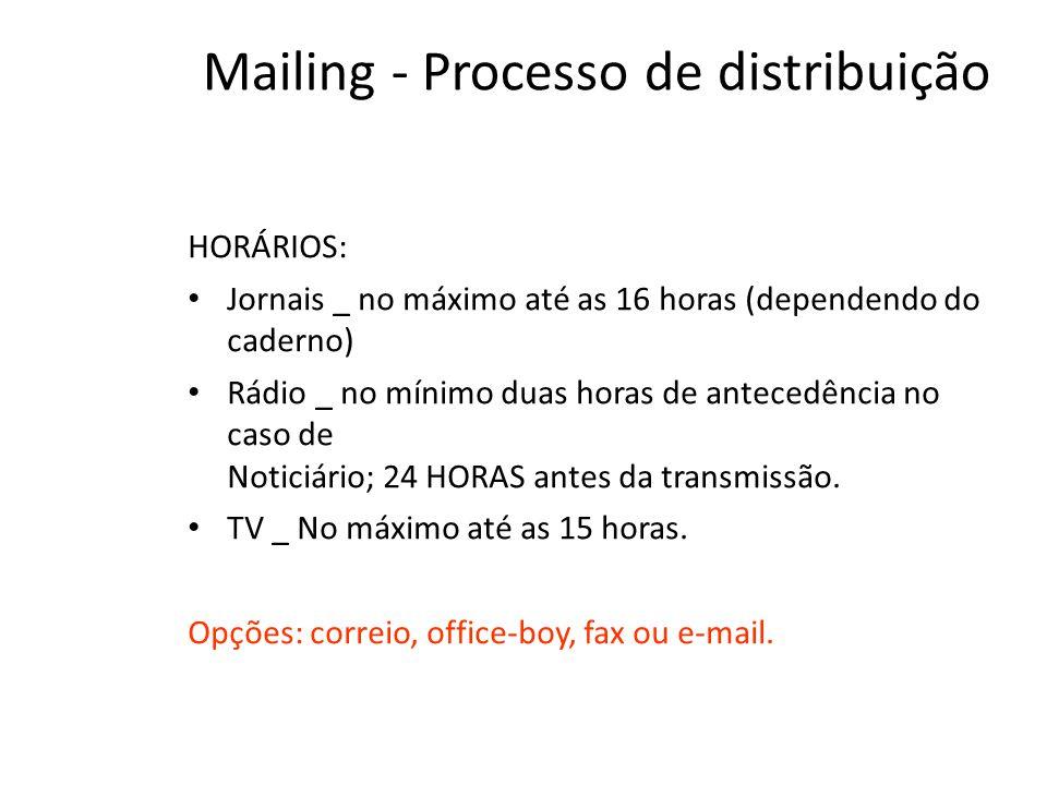 Mailing - Processo de distribuição HORÁRIOS: • Jornais _ no máximo até as 16 horas (dependendo do caderno) • Rádio _ no mínimo duas horas de antecedência no caso de Noticiário; 24 HORAS antes da transmissão.
