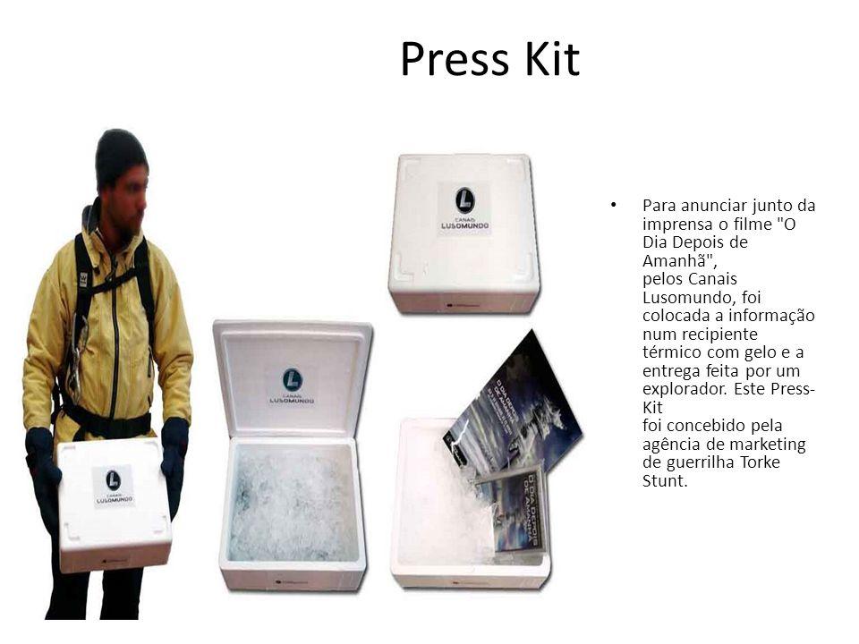 Press Kit • Para anunciar junto da imprensa o filme O Dia Depois de Amanhã , pelos Canais Lusomundo, foi colocada a informação num recipiente térmico com gelo e a entrega feita por um explorador.