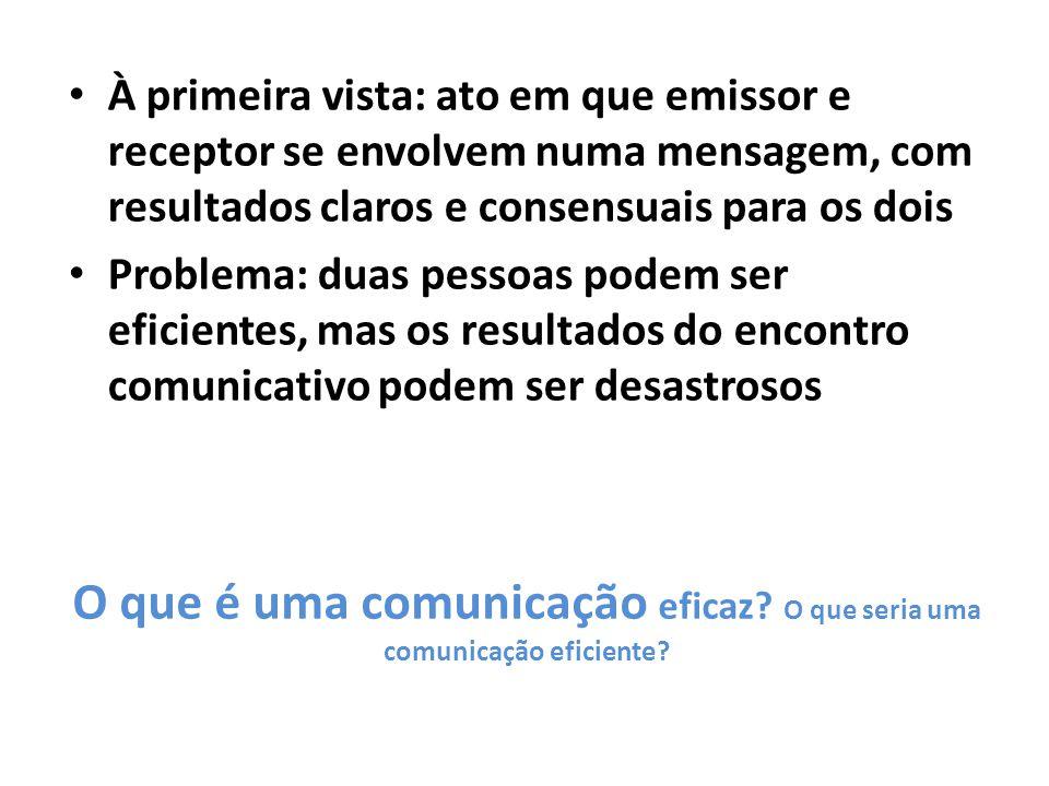O que é uma comunicação eficaz.O que seria uma comunicação eficiente.