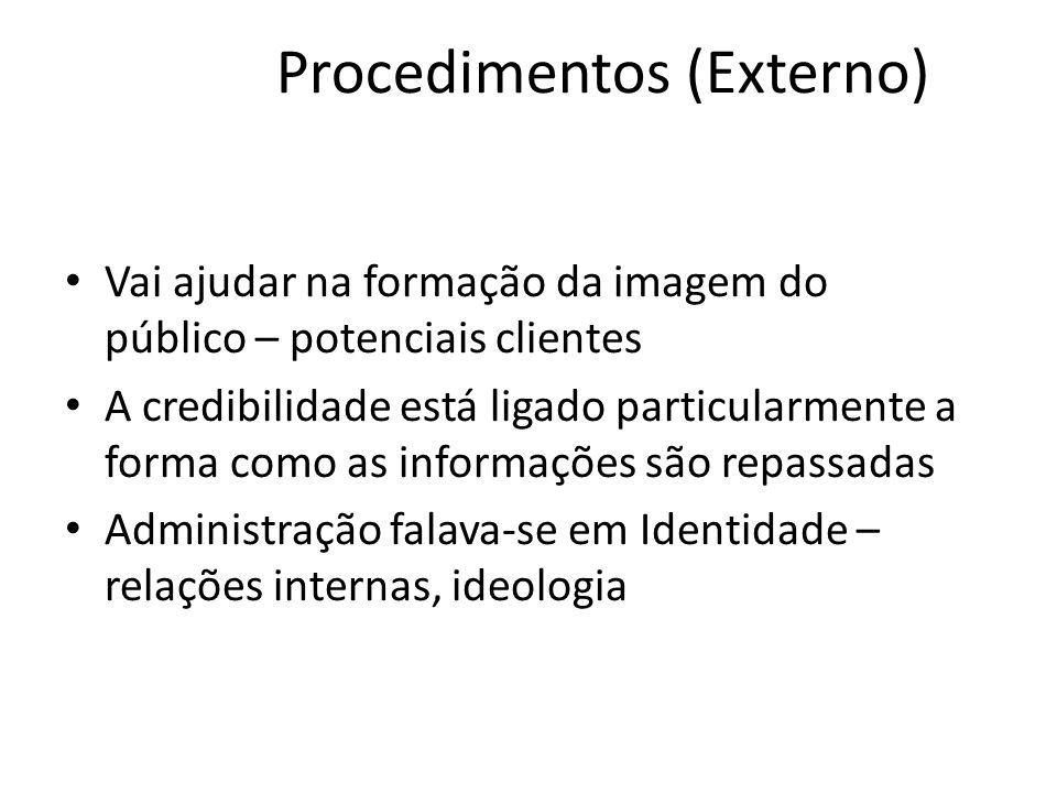Procedimentos (Externo) • Vai ajudar na formação da imagem do público – potenciais clientes • A credibilidade está ligado particularmente a forma como as informações são repassadas • Administração falava-se em Identidade – relações internas, ideologia