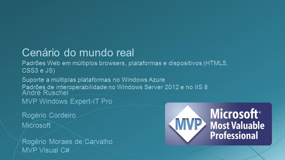 Cenário do mundo real Padrões Web em múltiplos browsers, plataformas e dispositivos (HTML5, CSS3 e JS) Suporte a múltiplas plataformas no Windows Azur