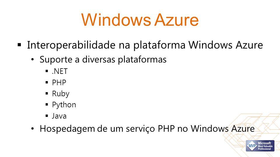 Windows Azure  Interoperabilidade na plataforma Windows Azure • Suporte a diversas plataformas .NET  PHP  Ruby  Python  Java • Hospedagem de um
