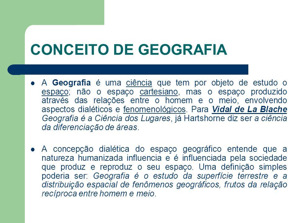 CONCEITO DE GEOGRAFIA  A Geografia é uma ciência que tem por objeto de estudo o espaço; não o espaço cartesiano, mas o espaço produzido através das r