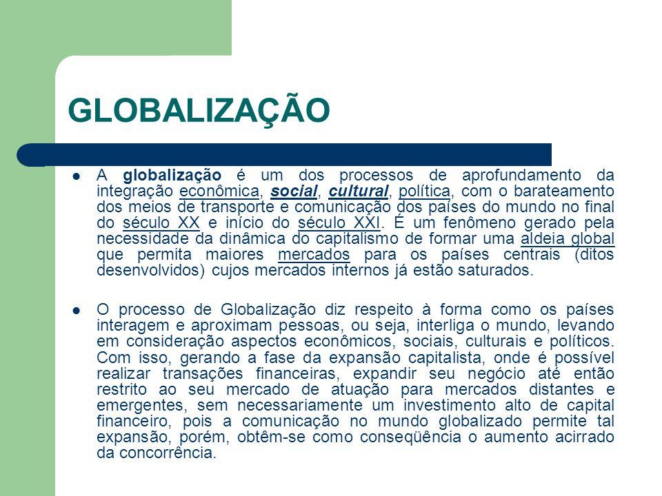 GLOBALIZAÇÃO  A globalização é um dos processos de aprofundamento da integração econômica, social, cultural, política, com o barateamento dos meios d