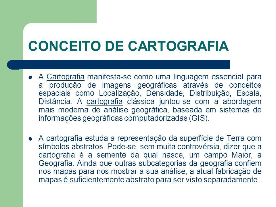 CONCEITO DE CARTOGRAFIA  A Cartografia manifesta-se como uma linguagem essencial para a produção de imagens geográficas através de conceitos espaciai