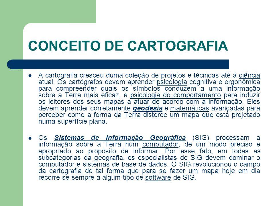 CONCEITO DE CARTOGRAFIA  A cartografia cresceu duma coleção de projetos e técnicas até à ciência atual.